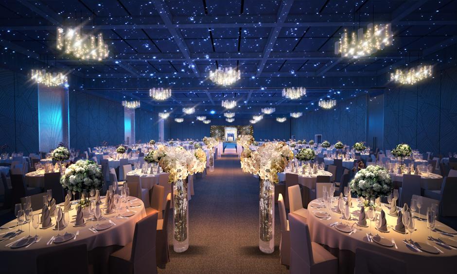Sảnh tiệc sang trọng lung ling tại trung tâm hội nghị tiệc cưới Tân Bình Gala Center